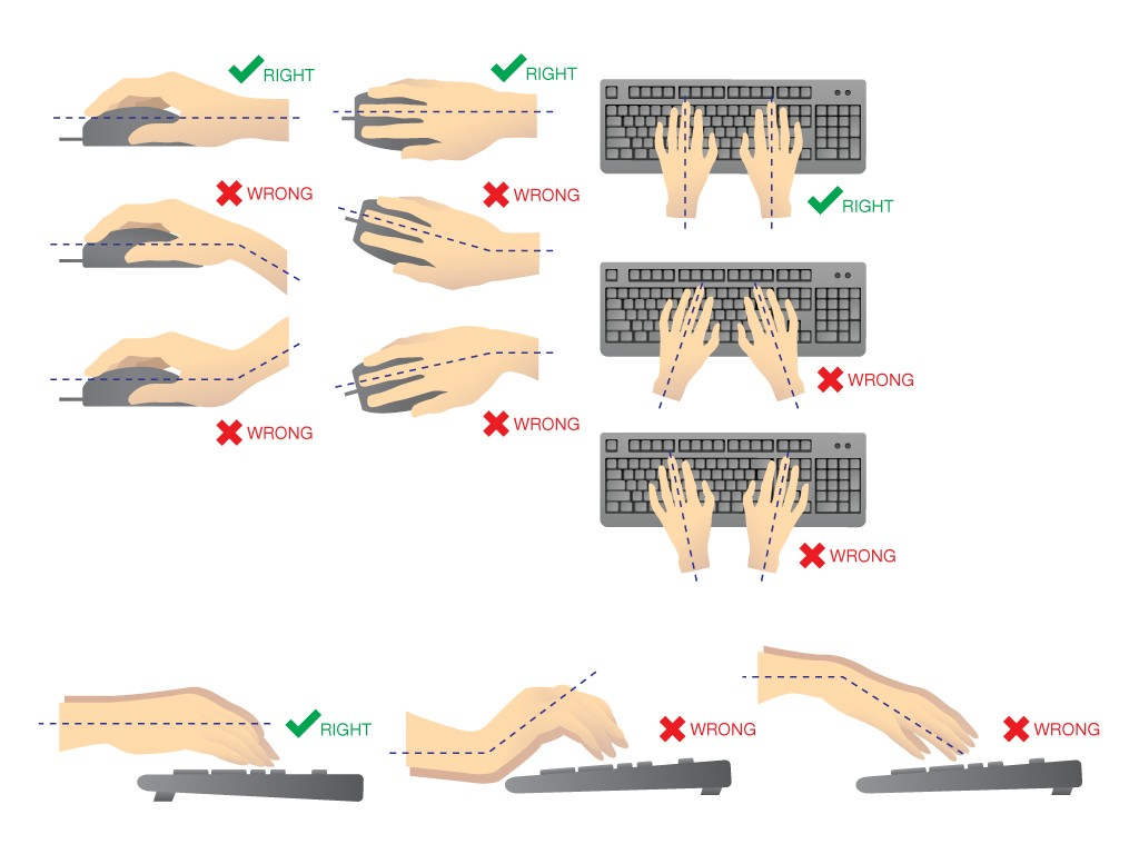Keep your hands and wrists level with your keyboard